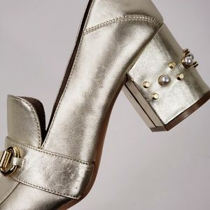 1ffcec3a29f Steven By Steve Madden Shoes - Steve Madden Layla Gold Genuine Leather  Block Heel